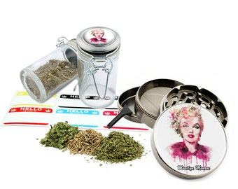"Marilyn Monroe - 2.5"" Zinc Alloy Grinder & 75ml Locking Top Glass Jar Combo Gift Set Item # 50G012516-29"