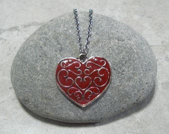 Red Heart Necklace Pendant Antique Silver