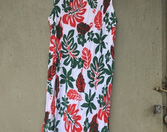 Hawaiian red and white plant dress old school