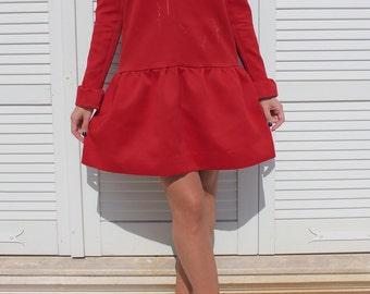 Tight Satin Handmade Red Dress Size XS-S