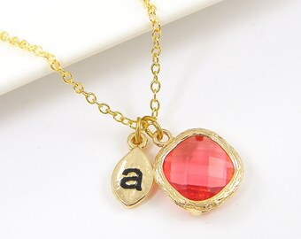 Personalized Coral Necklace, Coral Pendant Necklace, Coral Drop Necklace, Initial Alphabet Gold Bridesmaid Bridal Jewelry  CJ1-13