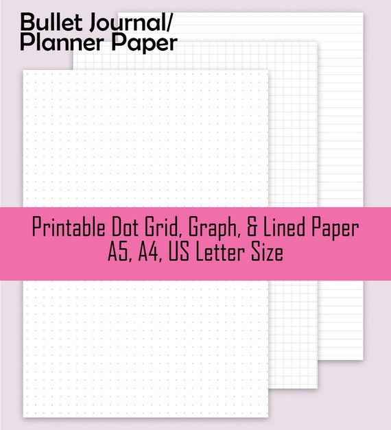 Dot Grid Paper Graph Paper Lined Paper Printable Planner