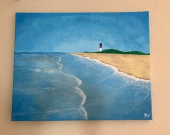 Beach and lighthouse painting