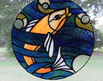 Art Nouveau Fish Stained Glass Round Panel