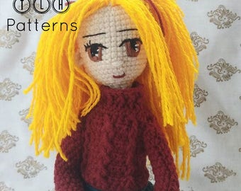 Crochet doll pattern, crochet amigurumi, amigurumi doll pattern, crochet doll photo tutorial, Heidi, pattern no. 100