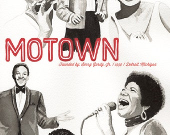 Motown Watercolor Illustration Poster