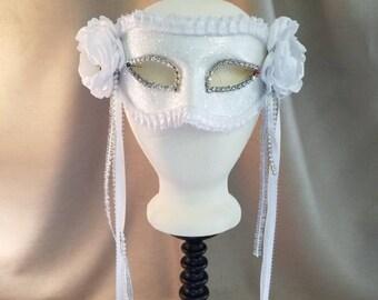 White Glitter Masquerade Mask
