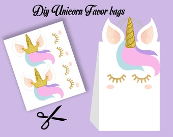 Girl Unicorn Favors, Unicorn Party Bags Printable, Unicorn DIY Gift Bag, Unicorn Birthday Printable, Digital Files (You Print)