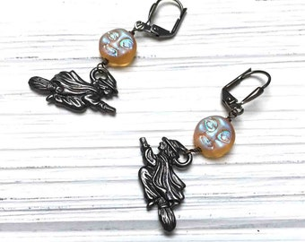 Halloween Moon Witch Earrings. Tierra Cast Witch. Gothic. Medium Drop Earrings. Dangle Earrings. Yellow AB. Black. Handmade Jewelry.