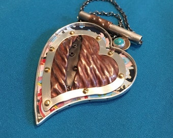 large Heart necklace. mixed metal. copper and silver. boho style