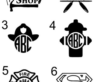 Guy Monogram Decals (workshop, grill, Firefighter, superman)