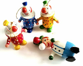 Vintage Wooden Clown Colorful Ornaments - Lot of 4