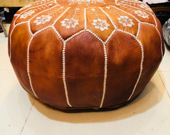 Embroidered ouf Moroccan Leather Handmade Ottoman Footstool Pouffe Unstuffed Genuine Luxury Morocco Best Artisanat
