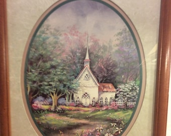 Vintage Home Interiors Framed Art Picture Spring Meadows Country Cottage Tall Steeple Shabby Chic Wall Decor Country French Romantic Decor