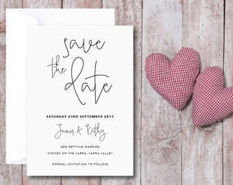 SAVE THE DATE Cards with Envelopes | Wedding, Engagement, Invitation, Invites | Minimalist, Monochrome, Typography