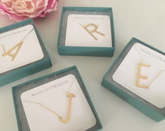 Large Sideways Initial Necklace, Gold Necklace, Initial Jewelry, Personalized Necklace, Name Jewelry, Mothers Day Gift, Best Selling Item
