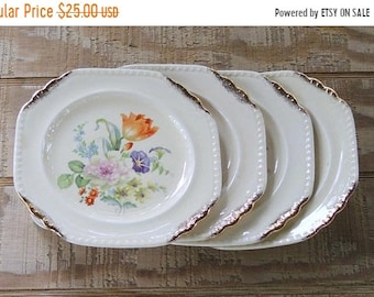 ON SALE Vintage Salem Heirloom Octagonal Bread and Butter Plates Set of 4, Bridesmaid Luncheon Tea Party, Shabby Cottage Style, Ca. 1940's
