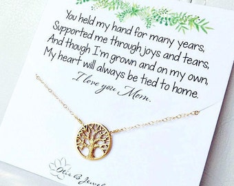Mother of the bride gift, Family tree necklace for mom, sentimental message card, meaningful gift for mom from bride, mothers day gift