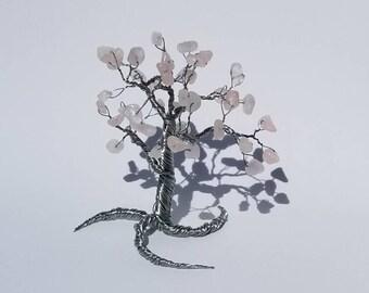 rose quartz wire beaded tree sculpture, bead tree, art objects, wire tree of life sculpture, beaded tree, wire tree sculpture, rose quartz