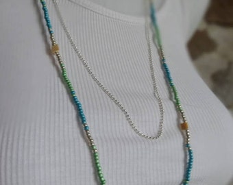 Double necklace, seed beads and bead chain