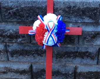 Patriotic Cemetery Flowers, Cemetery Cross, Cemetery Decoration, Grave Decoration, Roadside Memorial