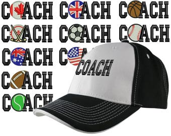 Custom Personalized Coach Embroidery on Adjustable Structured Black and White Baseball Cap Front Decor Selection + Options for Side and Back