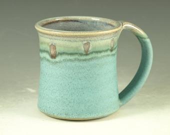 Ceramic mug with large Handle, turquoise, wheel thown (12oz)