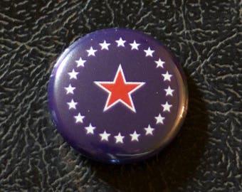 "1"" Springfield IL flag button - Illinois, city, pin, badge, pinback"