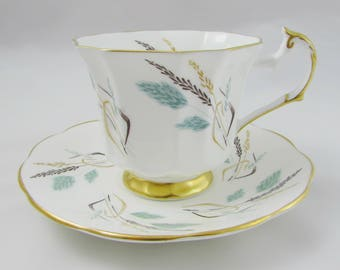 Tea Cup and Saucer with Wheat Design, Made by Sandringham, Vintage Tea Cup, English Bone China