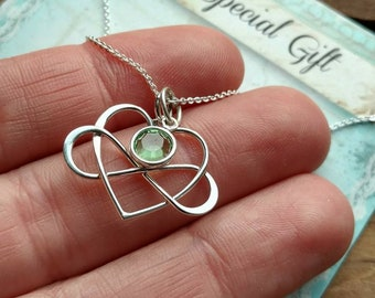 Infinity Heart Necklace, Infinity, Heart, Charm, Pendant, Necklace, Pregnancy, Love, Jewelry, Gift, .925, Sterling, Silver, Sterling Silver
