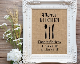 Menu Take it or Leave it, Mom Mothers Day Gift, Wife Mother's Day Gift, Kitchen Humor, Farmhouse Kitchen Decor, Wife Gift, Mom Gift Mom