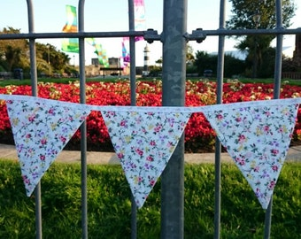 White Floral Fabric Bunting