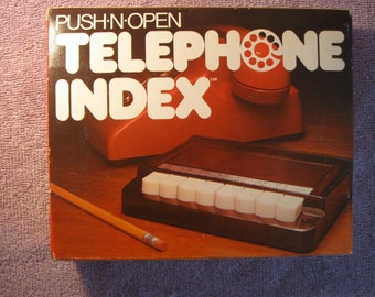 Vintage 1981 Telephone Index Automatic Push-N-Open System With Original Box   New Old Stock   Alphabetical Telephone and Address File