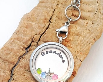 Floating Charm Locket - Charm Necklace - Locket - Memory Locket Necklace - Grandma Necklace - Floating Charm locket necklace  - Mom locket