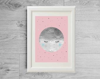 Silver moon print - Moon poster - Little girl nursery print - Pink moon decor - Pink pastel print - Girl print - Girl poster - Pink nursery