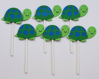 Turtle Cupcake Toppers, turtle theme, tortoise theme, turtle birthday party, turtle cake, turtle baby shower, turtle decorations, tortoise