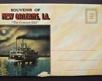 """Souvenir of New Orleans Louisiana """"The Crescent City"""" Vintage Foldout Folder Postcards"""