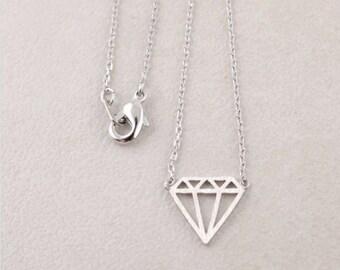 Diamond / Outline / Geometric / Necklace / Pendant / Silver / Hipster / Trendy / Everyday / Simple / Dainty / Minimalist / Petite