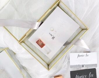 Glass Photo Box - Gold Glass Box - Geometric Glass Box - Bridesmaid Gift - Jewelry Box - Rectangle Jewelry Box - Rectangular Keepsake Box