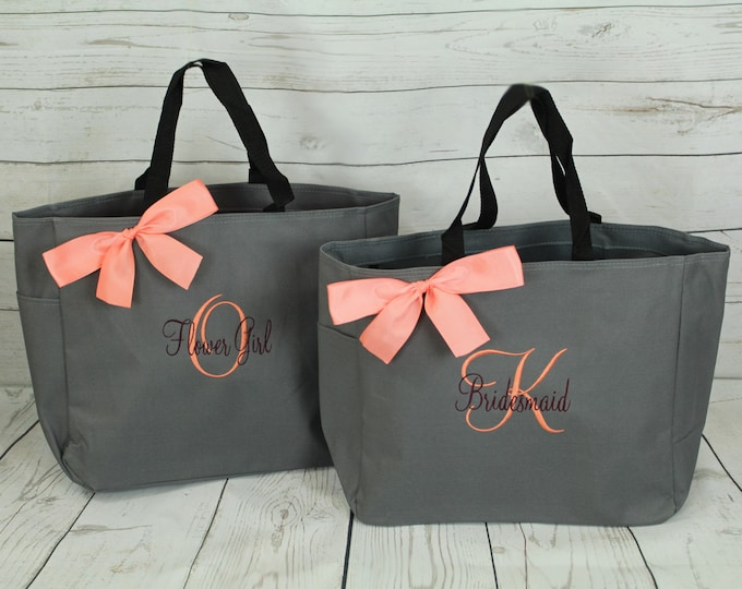 Personalized Bridesmaid Gift Tote Bag Personalized Tote, Bridesmaids Gift, Monogrammed Tote, Set of 8, set of 6, set of 10