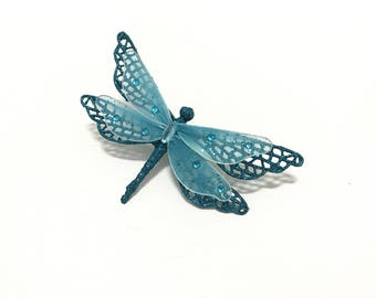 Artificial Turquoise BLUE Glitter Dragonfly Embellishment on Clip - Christmas Decorations, Cake Topper, Hair Accessories, Millinery, Wreath