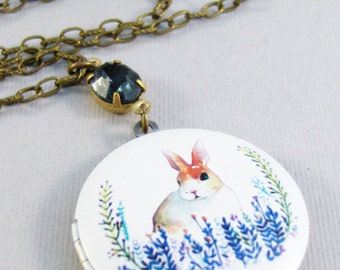 Woodland Bunny,Rabbit Necklace,Rabbit Jewelry,Bunny Necklace,Bunny Jewlery,Easter,Sapphire Necklace,Vintage Sapphire,blue,ValleyGirlDesign