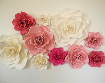 Paper wall flowers etsy 10 piece paper flowers handmade weding roses party decor bridal shower baby paper flowers nursery wall mightylinksfo
