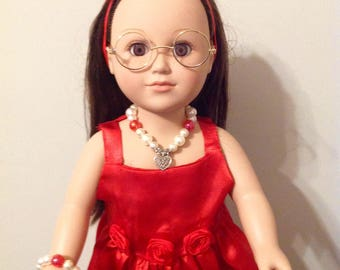 "Sweet Red Dress with Accessories  for Your 18"" or American Girl Doll."