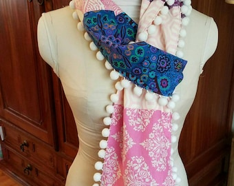 Spring SALE! - Cotton Scarf, Amy Butler Scarf, Ball Fringe Scarf, Long Scarf, Pom-pom Trim Scarf