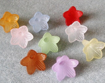 You Pick Colors Frosted Lucite Acrylic Trumpet Flower Cap Beads 409