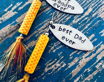 TODAY show feature Best Dad Ever Hooked on Dad Fishing Lure Hand Stamped Engraved - Dad Gift - Father's Day - Christmas - Papa - Grandpa