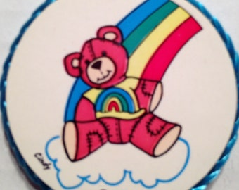 Rainbow and Teddy Bear magnet, vintage made in 1980's,