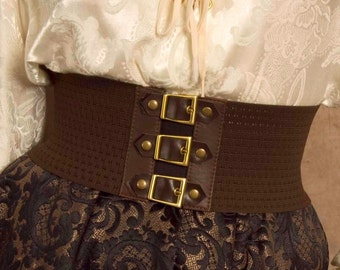 size SMALL Steampunk / Pirate Buckle stretch belt in brown, Great for Halloween - Perfect for Kids too and Ready to Ship!