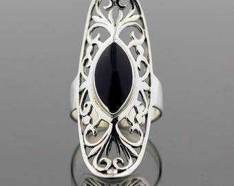 Black Onyx Silver Ring // 925 Sterling Silver // Ring Size 7.5 // Handmade Jewelry